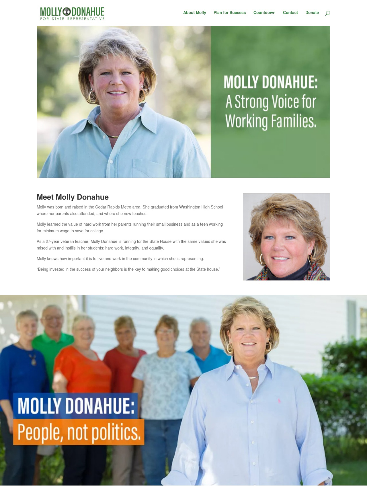 Image of the home page of a site for a House Representative Candidate for the Iowa House